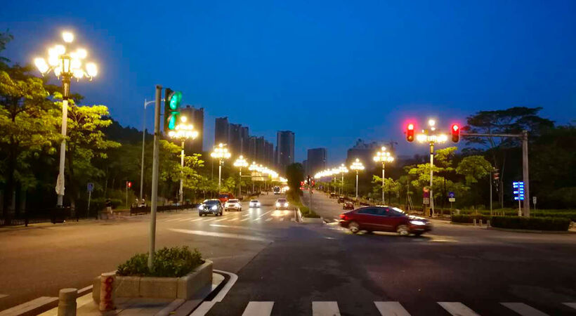 Smart LED street lights in Guangzhou, China.